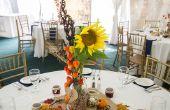 Centres de mariage sur le thème automne Mason Jar