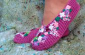 Tricoter chaussons lilas