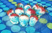 Rouge, blanc et bleu fraises avec candy Blue