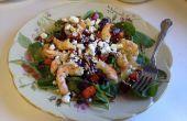 Rôti de betterave, patate douce, salade mesclun et crevettes salade