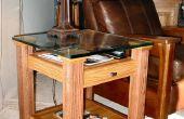 Table d'extrémité supérieure chêne & verre affichage