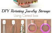 DIY tournant rangement de bijoux à l'aide de la boîte de céréales