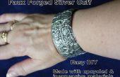 Upcycled Faux forgé Silver Bracelet manchette