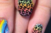 Lisa Frank inspiré Ombre Leopard Print Nail Art