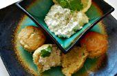 Miel de coriandre ail pain de maïs Muffins avec la tartinade de fromage à la crème de citron-Lime