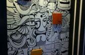 Doodle art sur unité de stockage (mobilier design)