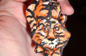 Orange chat-tigre Sculpey pendants fini