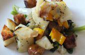 Repas d'un sachet de pommes de terre & saucisse