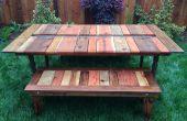 Régénérés bois Flat-Pack Picnic Table avec planteur/glace creux