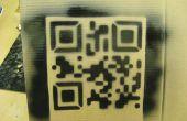 Pochoir découpé au laser QR code.
