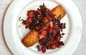 Saumon croustillant avec fraise basilic Salsa (en moins de 20 minutes)