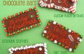 DIY gravée vacances Chocolate Bar couverts, Tags & bas de cadeau pour Noël