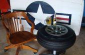 Table faite d'une roue d'avion des années 1940