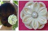 Bricolage fleur de satin, accessoire de cheveux de mariage