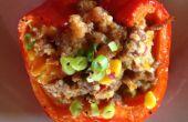 Quinoa et poivrons rôtis farcies de saucisses
