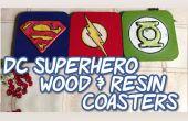 Bois de super-héros DC & sous-verres de résine