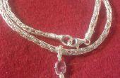 Tissé Necklas argenté avec pendentif en opale/Turmaline