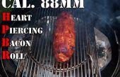 Cal. 88mm coeur Piercing roule Bacon - rempli d'oignons et pruneaux, enveloppé dans une tresse de bacon