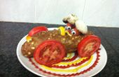 Conçu dîner - hot-dogs dans une voiture de course