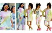 Robe pull arc-en-ciel bricolage + pantalon court bricolage inspiré par Rihanna