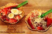 Salade de fruits d'été croquante dans Wafer panier Dessert