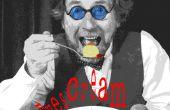 Crème glacée - Raw boules oeil riche vanille sauce rouge framboise les yeux