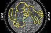 Trouver la direction du Nord et du temps en utilisant les fonctionnalités de surface p3-lune lune