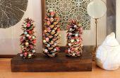 BRICOLAGE de vacances : Des arbres de pomme de pin avec de la laine feutrée