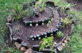 Jardin en spirale avec des bouteilles recyclées