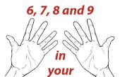 Tablas de multiplicación de 6, 7, 8 manos de las fr y 9