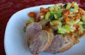 Hachage légumes cuits dans la graisse de Bacon de porc laineux