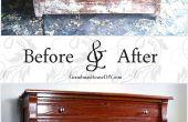 Avant et après : la vieille commode chêne depuis la véranda grillagée en
