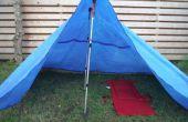 Trekking tente de bâche bleue de pôle