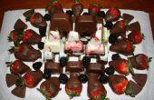 Accueil fait au chocolat et fruits plaque