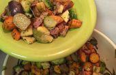Rôti légumes racines aux choux de Bruxelles et lardons