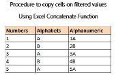 Procédure pour copier des cellules sur filtré des valeurs à l'aide de la fonction concaténer Excel