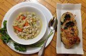 Épinards, poivrons farcis poulet & Macaroni soupe au poulet