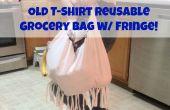 Vieux sac d'épicerie réutilisables T-Shirt w / Fringe !