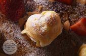Recette souffle aux amandes de la crème aux fraises en forme de coeur