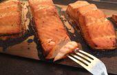 Saumon sur planche en érable Dijon Cedar