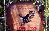 La main Boy Scout Troop Flag - cuir & bois