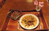 FROMAGE bleu poitrine farcie de poulet mijoté au vin blanc avec les oignons de printemps & champignons