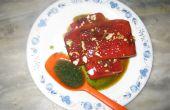 Steak de pastèque à l'ananas de cerfeuil et sauce à la menthe