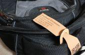 Laser cut & gravé étiquette à bagage en cuir