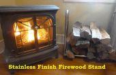 Stand de bois de chauffage en acier inoxydable finition