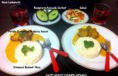 Coeur boulettes en Curry épicé, cuit à la vapeur de riz Basmati, salade et romarin avocat Sorbet - végétarien jour nuit dîner