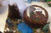 Comestibles scène de volcan en éruption et Dinosaur Cake
