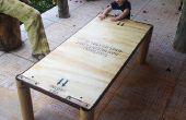Table basse de palettes et de tubes de carton