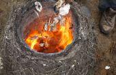 Brûler la chaux Seashell dans un four primitif paille/argile !