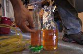 Bouteilles en verre pour faire un niveau d'eau de forage
